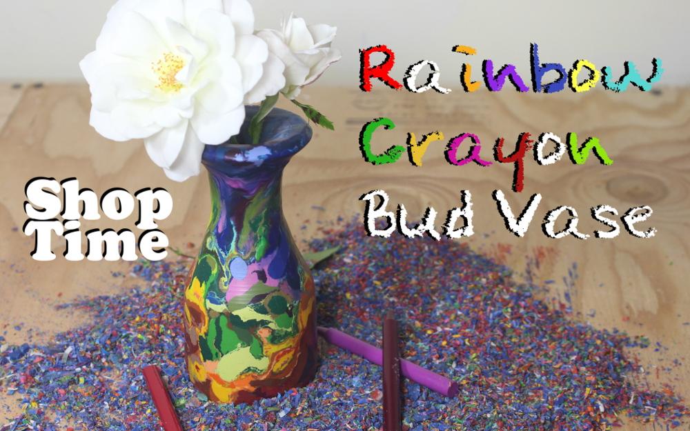 Rainbow Crayon Bud Vase